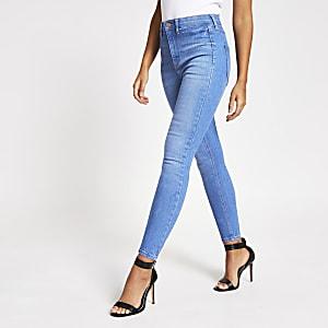 """Hellblaue Disco-Jeans """"Kaia"""" mit hohem Bund"""