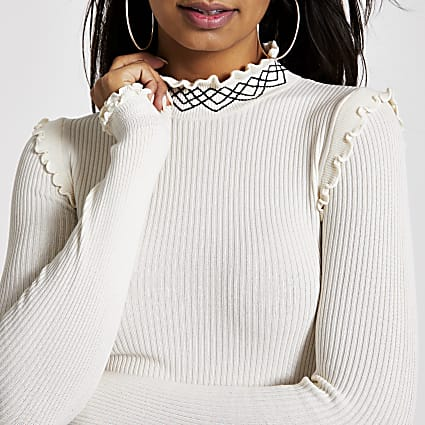 Cream embroidered high neck ribbed knit top