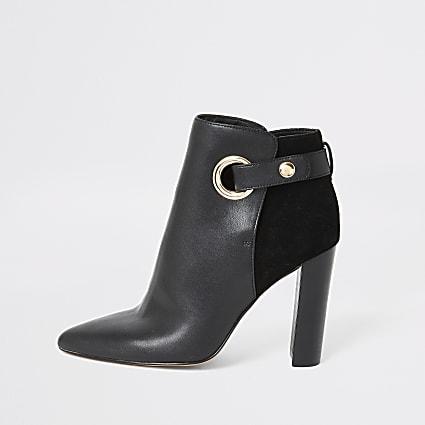 Black eyelet strap wide fit heeled boots