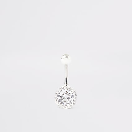 Silver colour circle diamante belly bar