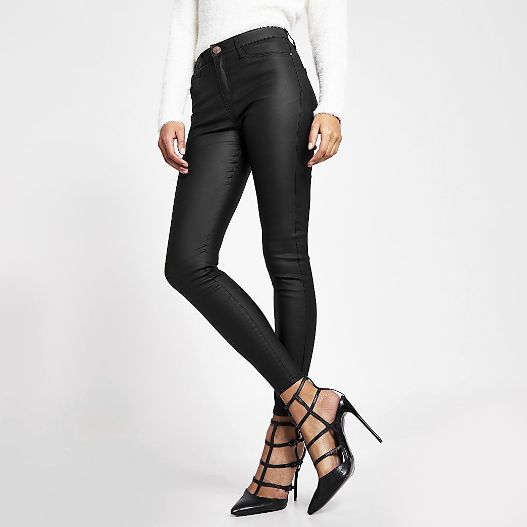 Black coated Molly mid rise jeggings