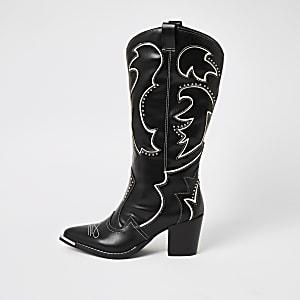 Bottes de cowboyhautes noiresà talons