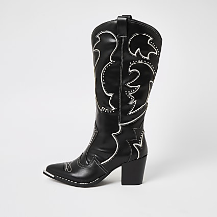Black high leg heel cowboy boots