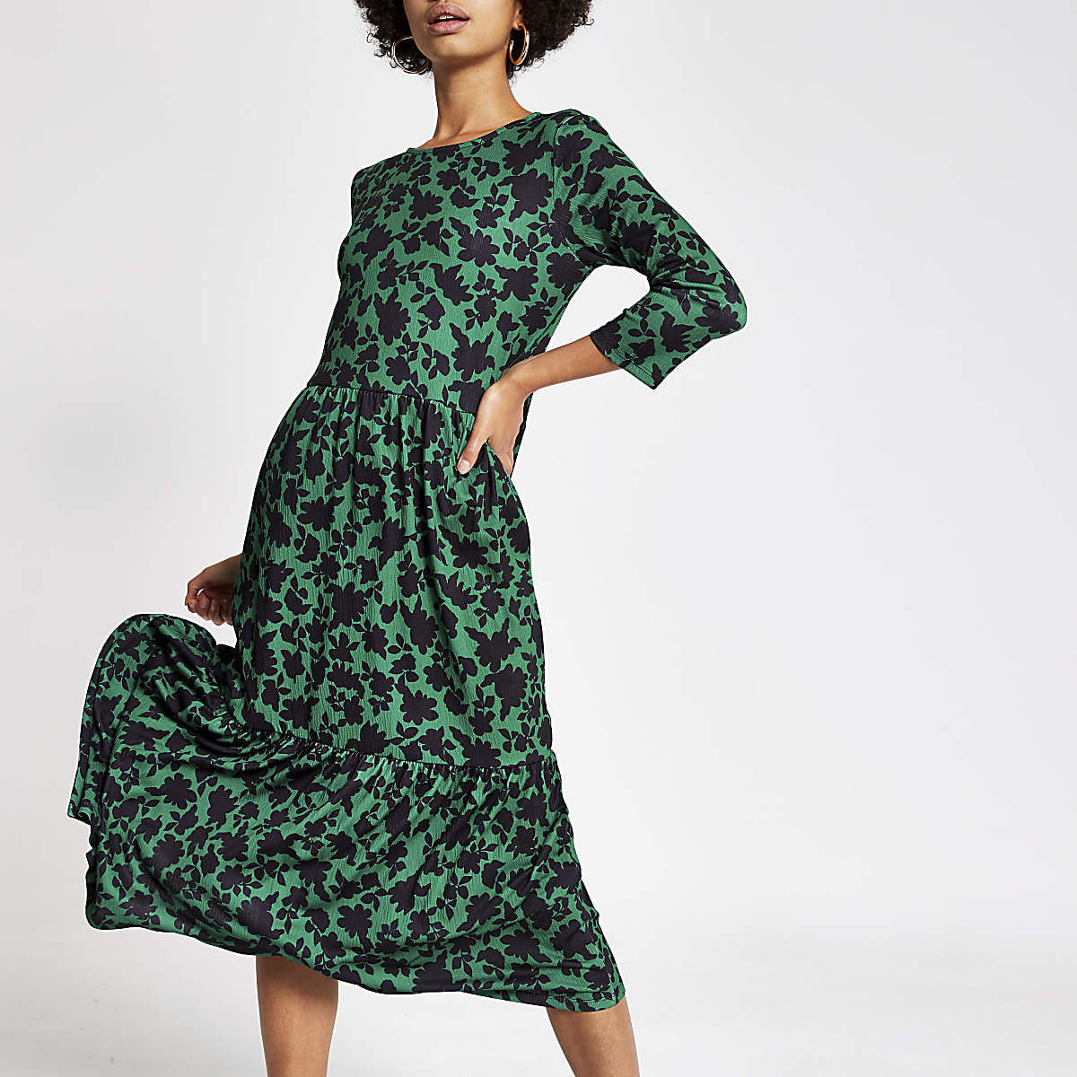 Green floral long sleeve midi smock dress