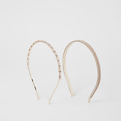 Rose gold embellished headbands 2 pack