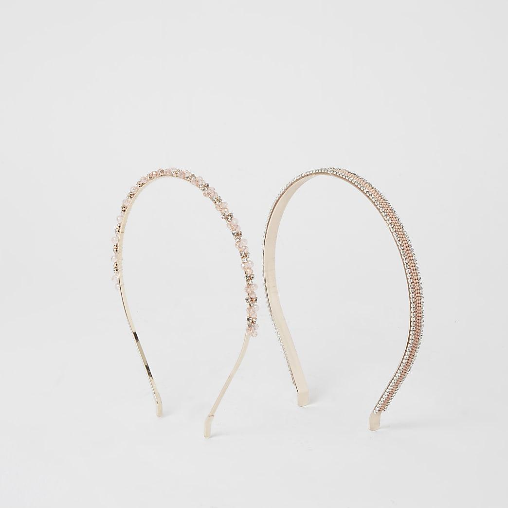 Set van 2 roségouden verfraaide haarbanden
