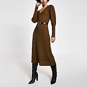 Kaki geribbelde A-lijn midi-jurk met pofmouwen