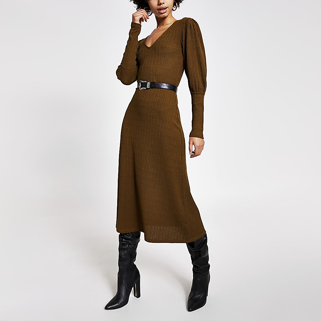 Khaki puff sleeve A line ribbed midi dress