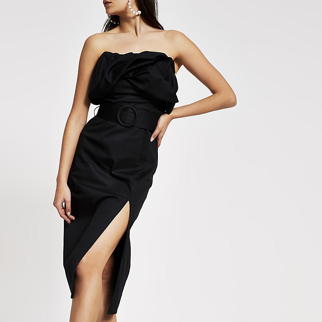 Robe Bardot moulante mi-longue noire avec ceinture