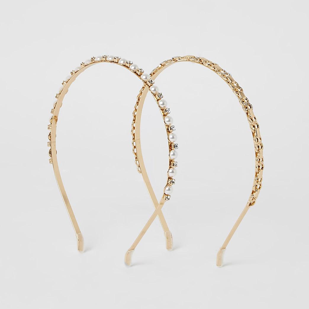 Gold embellished headband 2 pack