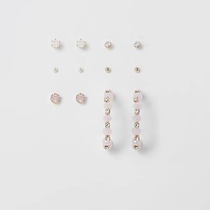 Rose gold colour embellished earrings 6 pack
