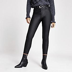 Molly– Pantalons en cuir synthétiquenoir à ceinture