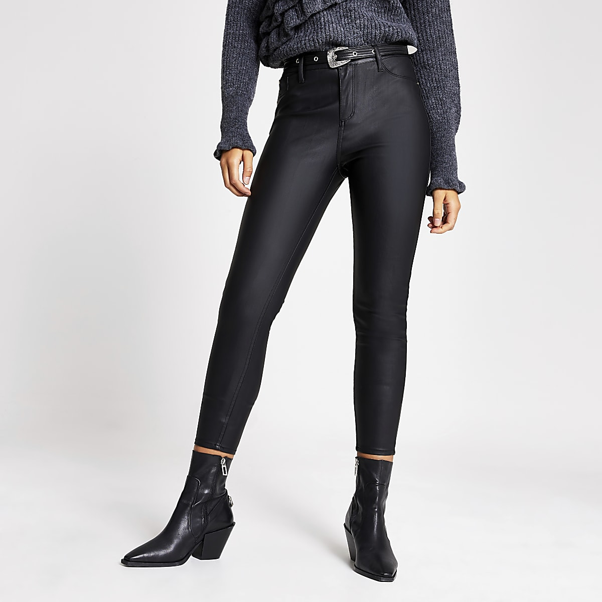 Black faux leather Molly belted trousers