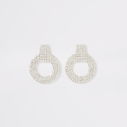 Silver diamante circle drop stud earrings