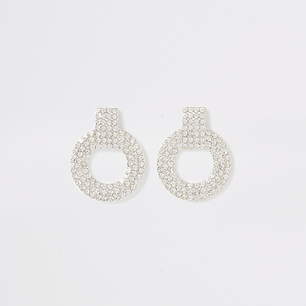 Silver colour diamante circle stud earrings