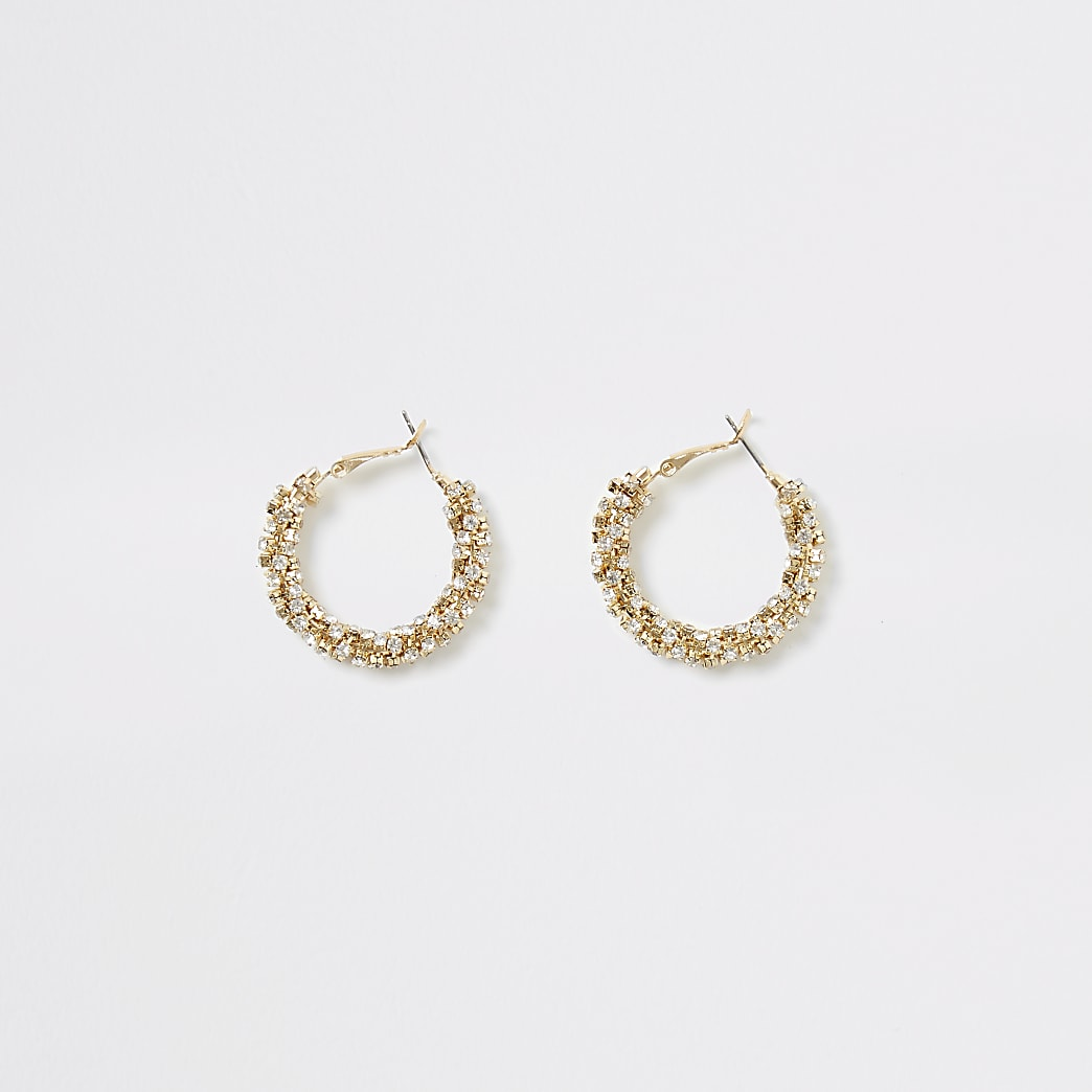Gold colour embellished rope hoop earrings