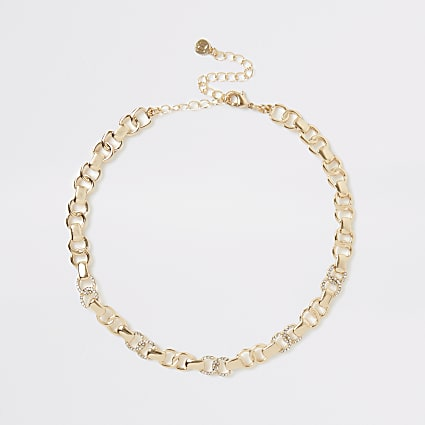 Gold diamante interlinked choker necklace