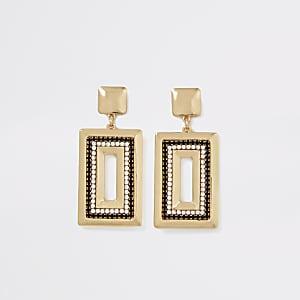 Rechteckige Ohrringe in Gold und Schwarz