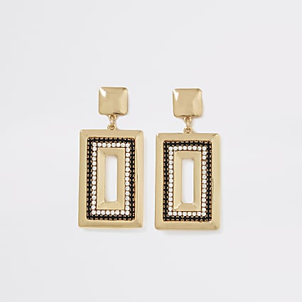 Gold and black diamante rectangle earrings