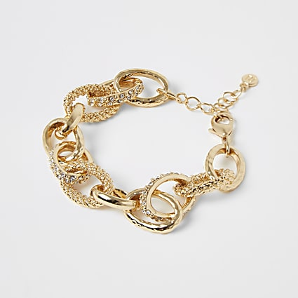 Gold colour diamante circle chain bracelet