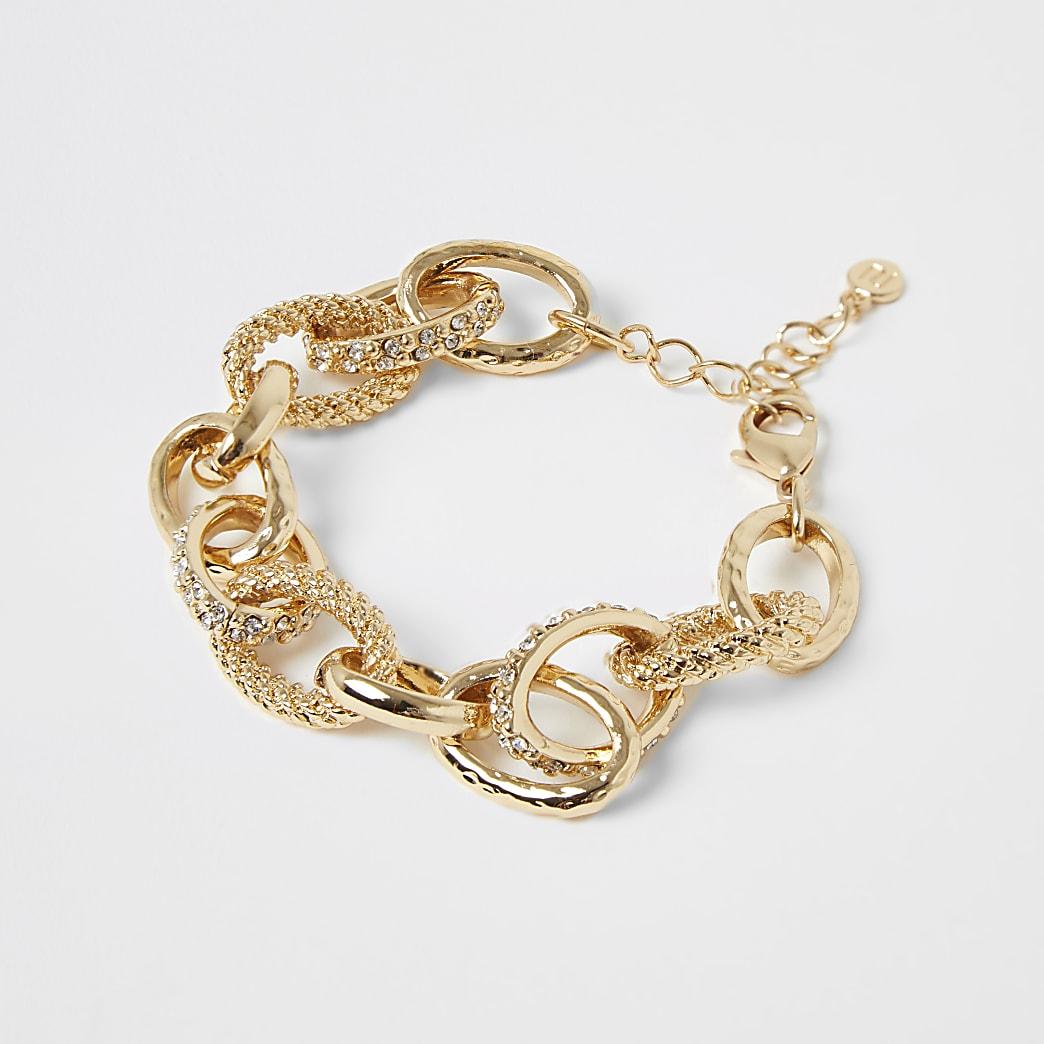 Gold colour diamante circle chain bracelet
