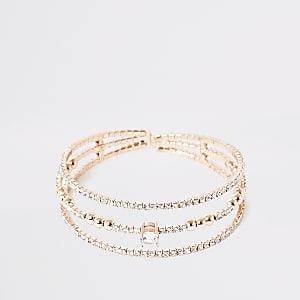 Roségoudkleurige gelaagde brede armband