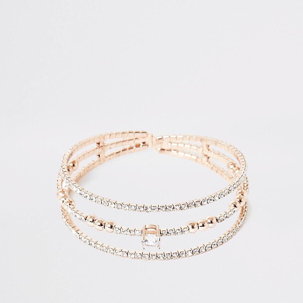 Roségouden verfraaide gelaagde brede armband