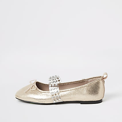 Rose gold diamante perspex ballet shoes