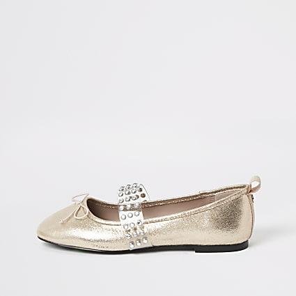 Rose gold diamante perspex ballet shoes