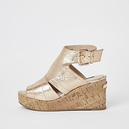 Rose gold metallic open toe wedge sandals