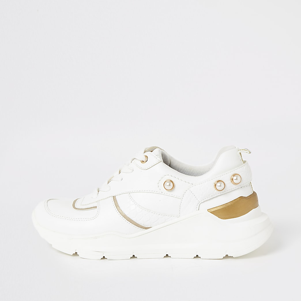 White pearl lace-up chunky trainers