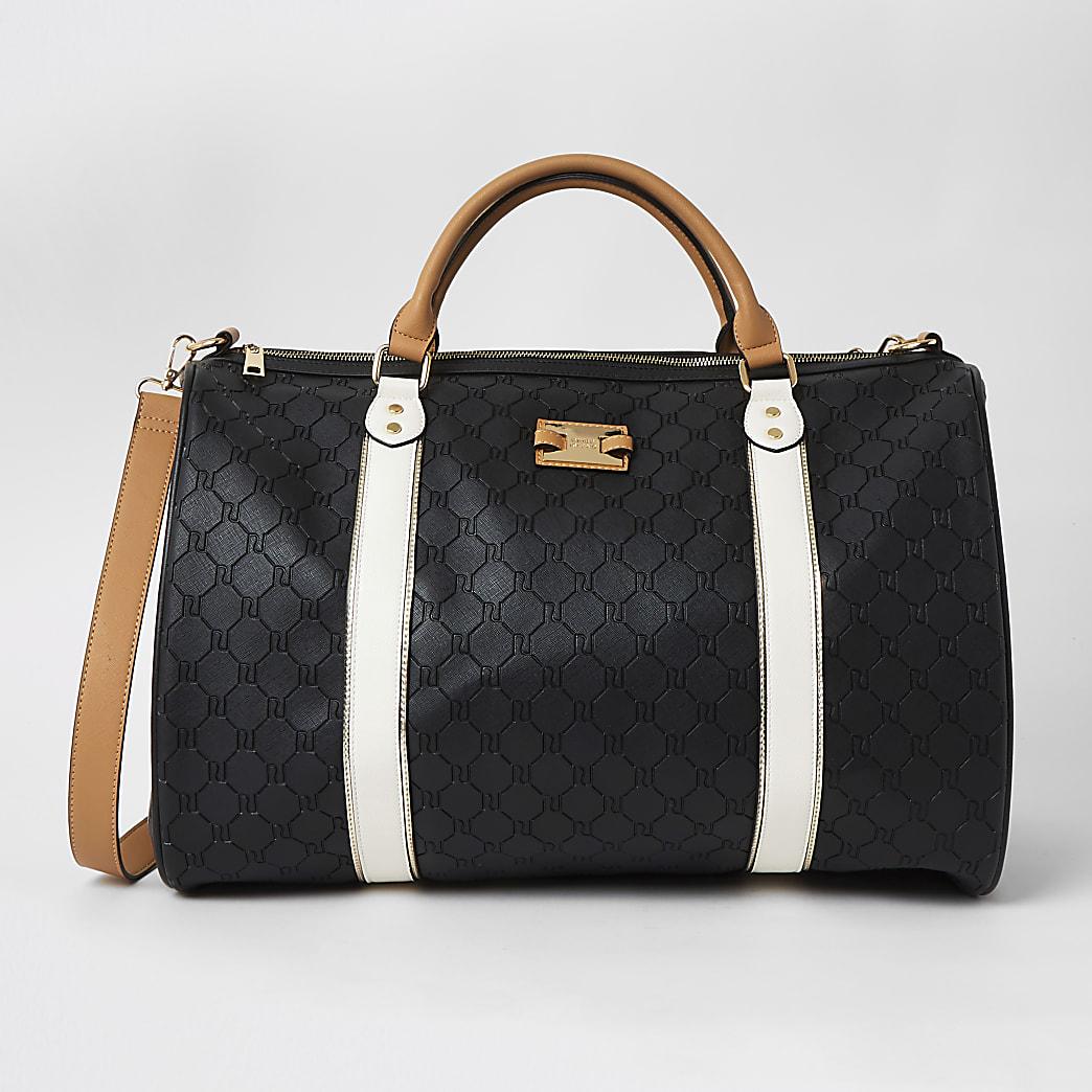 Black RI embossed large weekend duffle bag