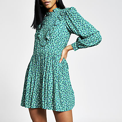 Green spot printed frill mini smock dress