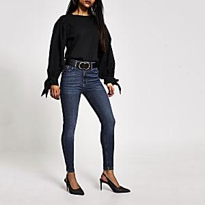 Petite – Dunkelblaue Hailey-Jeans im Skinny Fit mit hohem Bund