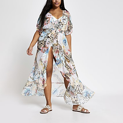 Plus blue printed maxi beach kaftan