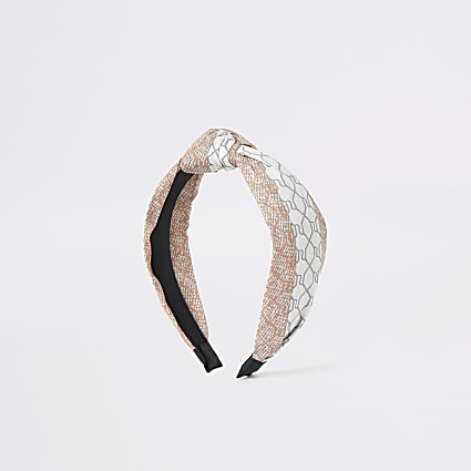 Grey mixed RI print knot headband