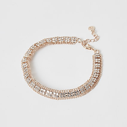 Rose gold diamante paved anklet