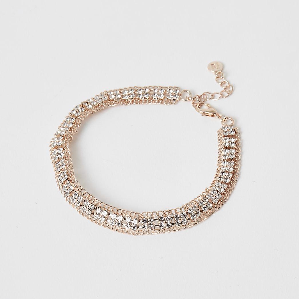 Bracelet de cheville or rose pavéde strass