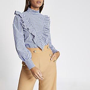 Blauwe gestreepte blouse met ruches voor