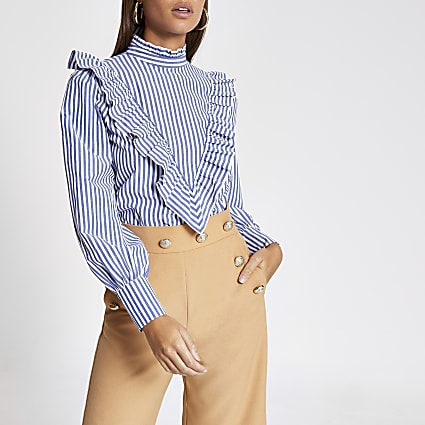 Blue stripe frill front blouse