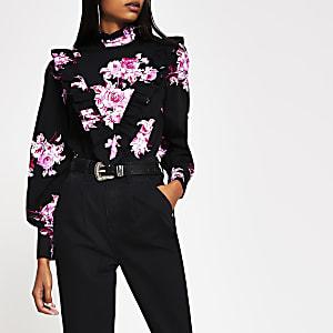 Zwarte blouse met bloemenprint en ruches voor