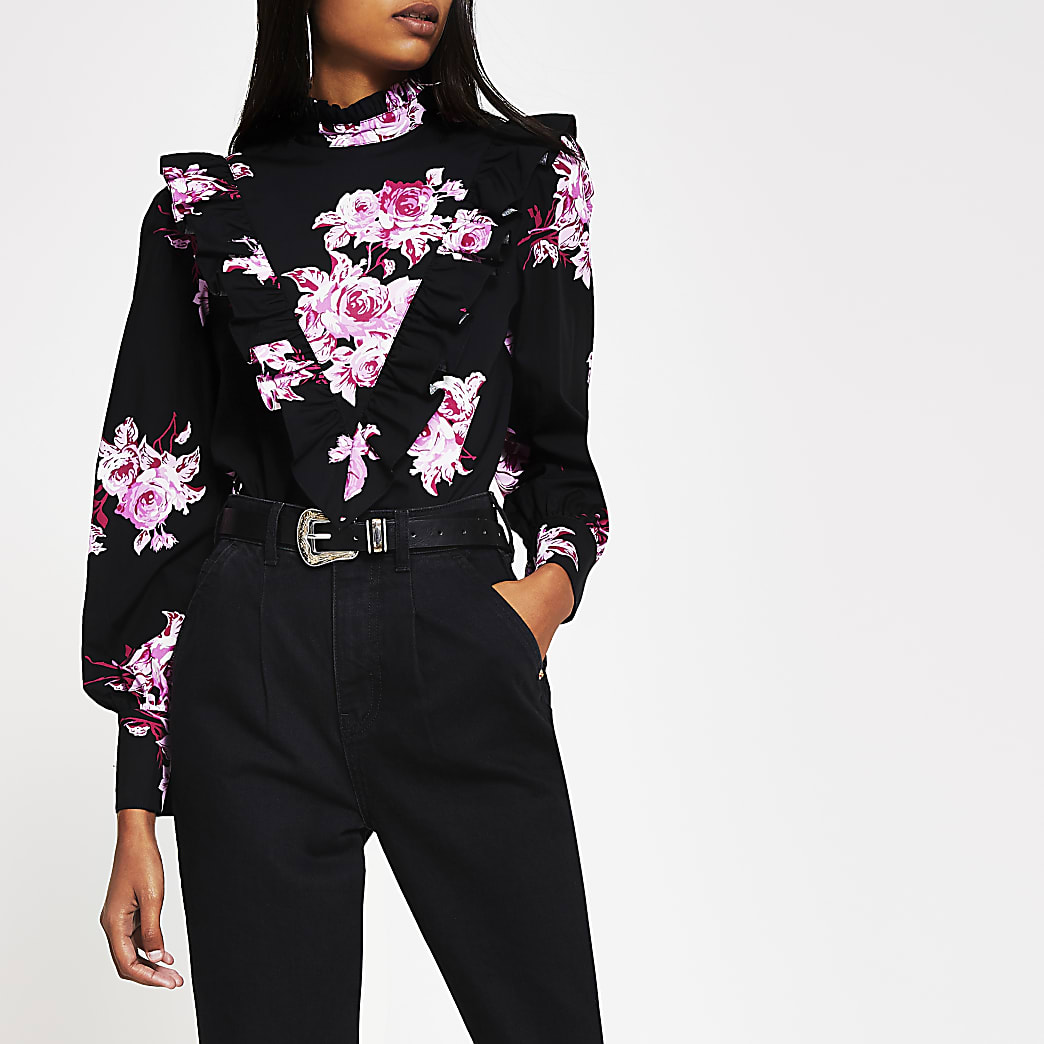 Black floral print frill front blouse