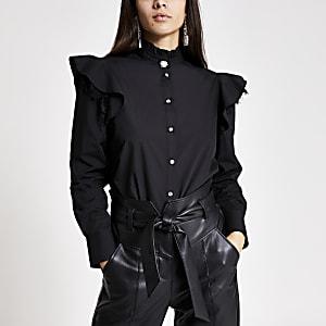 Chemise en popeline noire à manches longues avecdentelle et volants