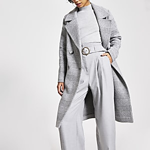 Manteau long croisé gris à carreaux