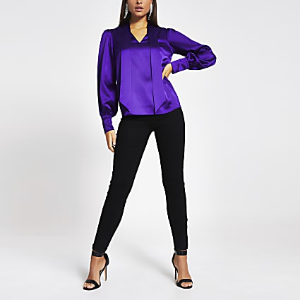 Purple long sleeve tie V neck satin blouse
