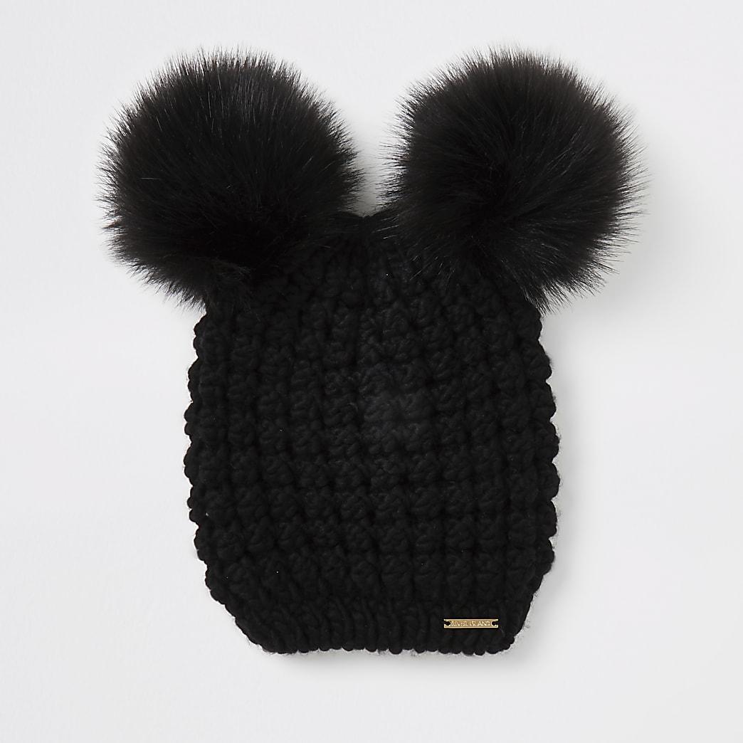 Black faux fur pom pom knitted hat