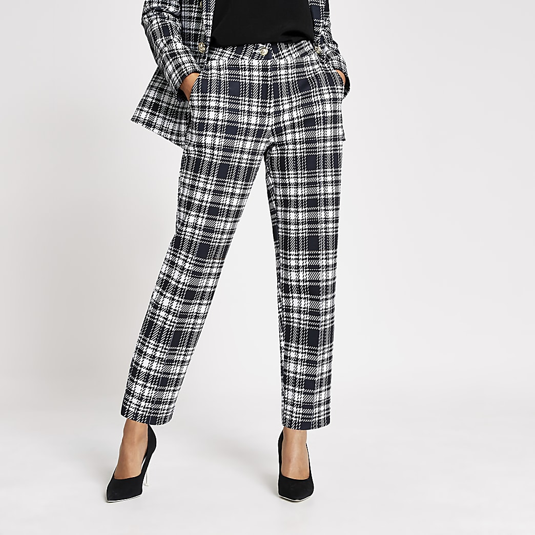 Black mono check ponte cigarette trousers