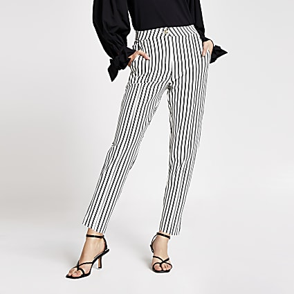 White stripe ponte cigarette trousers