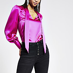 Pink satin tie neck long sleeve blouse