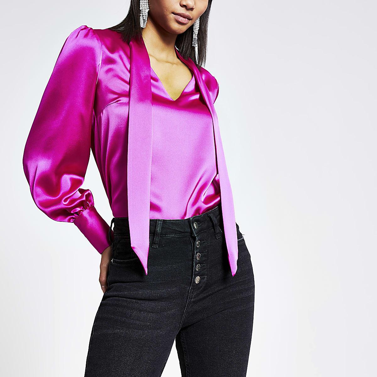Pink satin tie neck long sleeve blouse